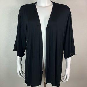 LOGO Lori Goldstein Open Cardigan Sweater Black